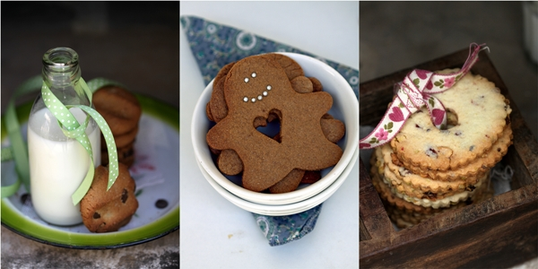 Whole Wheat Chocolate Chip Cookies with Smoked Sea Salt and Fluted Pistachio & Craisin Cookies and Gingerbread Men Cookies
