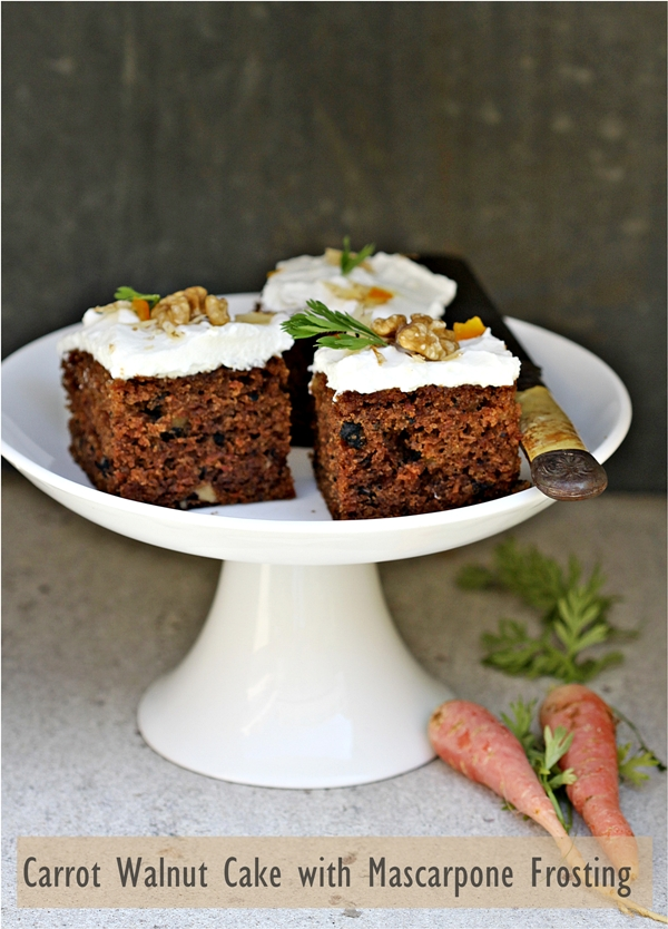 Carrot Walnut Cake with Mascarpone Frosting