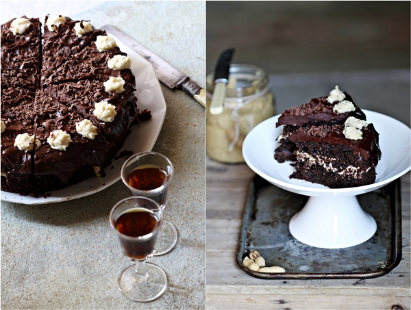 Dark Chocolate Beetroot Cake with Peanut Butter Filling