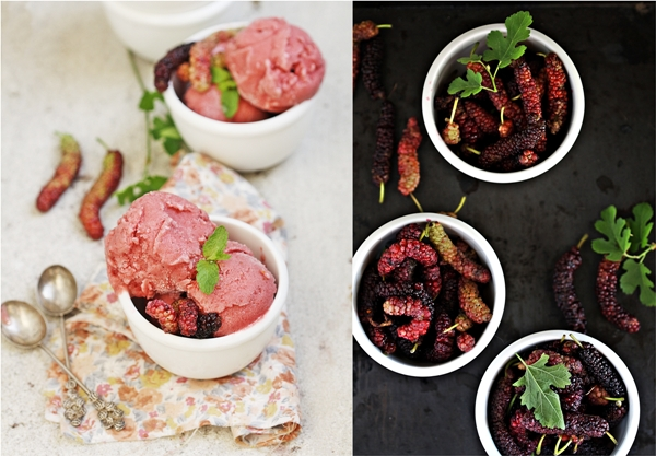 Mulberry Strawberry Buttermilk Sorbet