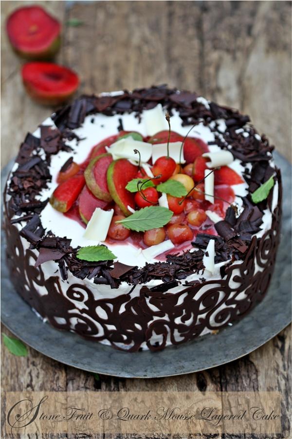 Baking Stone Fruit Quark Mousse Layered Cake refreshing