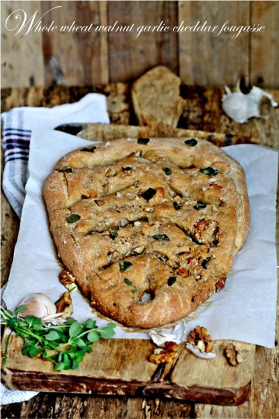 Baking | Whole Wheat Walnut Garlic Cheddar Fougasse … and a focaccia too #comfortfood #vegetarian #bread