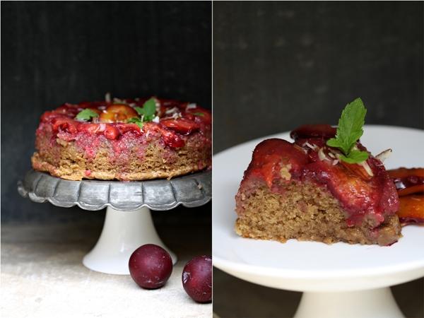 Plum upside-down cake