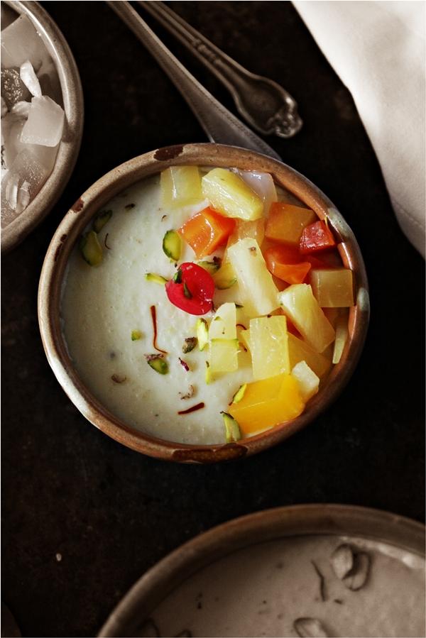 Phirni Custard with Mixed Fruits