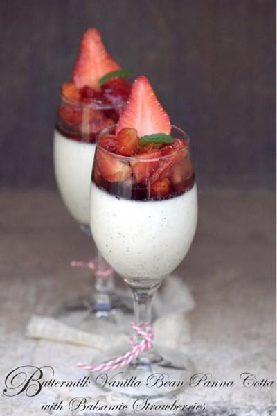 No Bake   Buttermilk Vanilla Bean Panna Cotta with Balsamic Strawberries … lighter & gluten free   dessert for someone you l♥v
