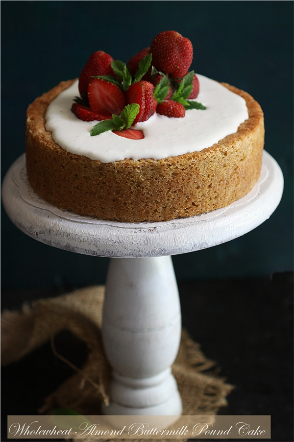 Baking | Wholewheat Almond Buttermilk Pound Cake … delicious topped with almond cream & fresh strawberries