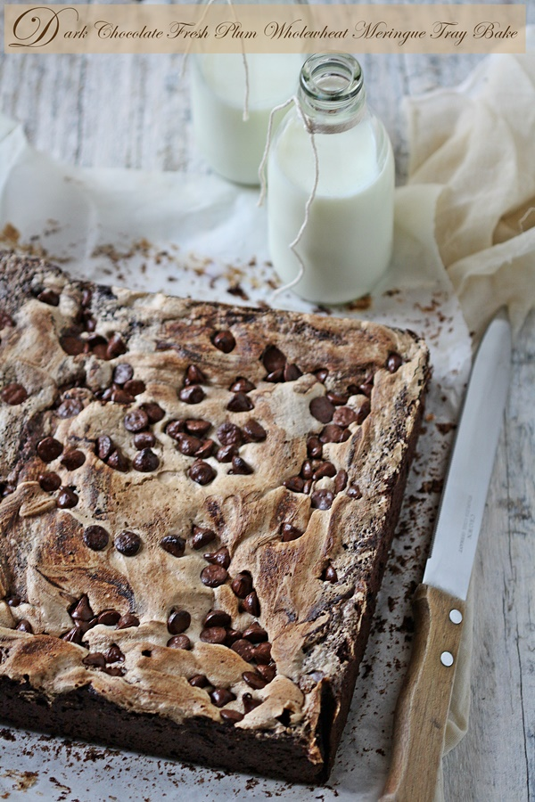 Dark Chocolate Fresh Plum Wholewheat Meringue Tray Bake