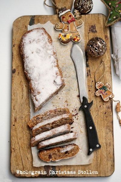 Baking | Wholegrain Christmas Stollen with dried peaches + walnuts + orange peel … a healthier version of the German Tea Bread