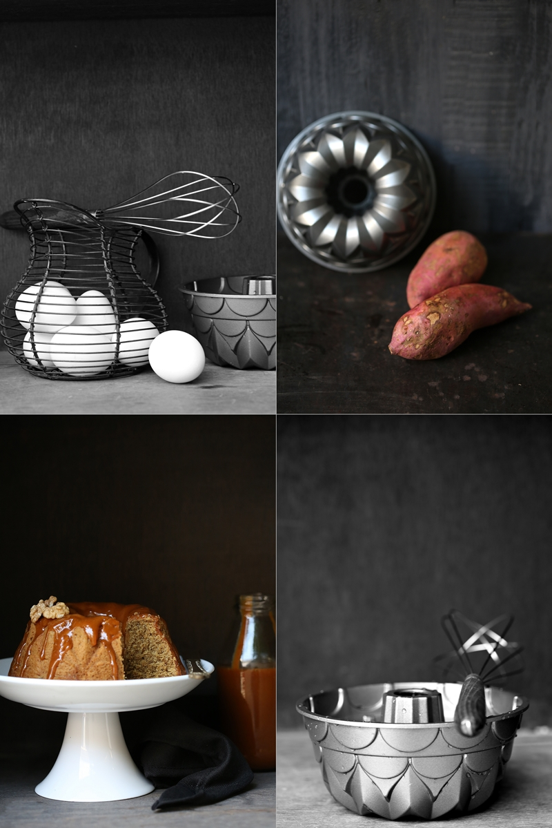 Sweet Potato Pound Cake with salted butter caramel sauce