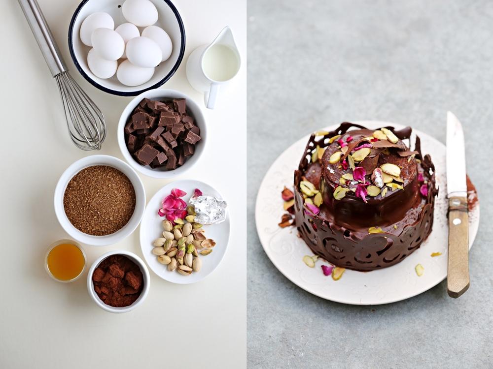 Flourless GF Mini Dark Chocolate Layered Cake for Diwali