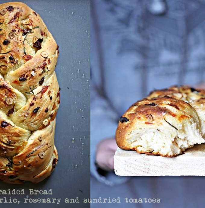 Baking  | Savoury Braided Bread … with garlic, rosemary and sundried tomatoes
