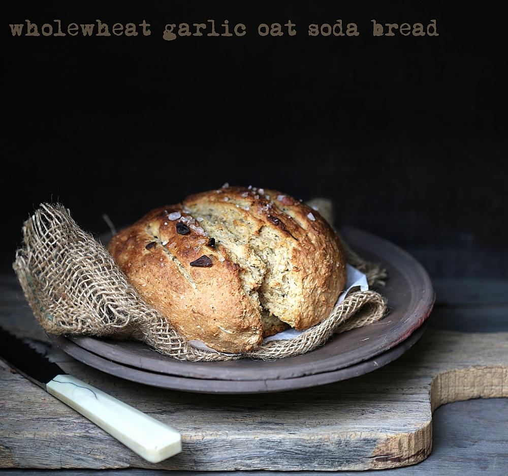 Baking   Wholewheat Garlic Oat Soda Bread ... Instagram inspired ...