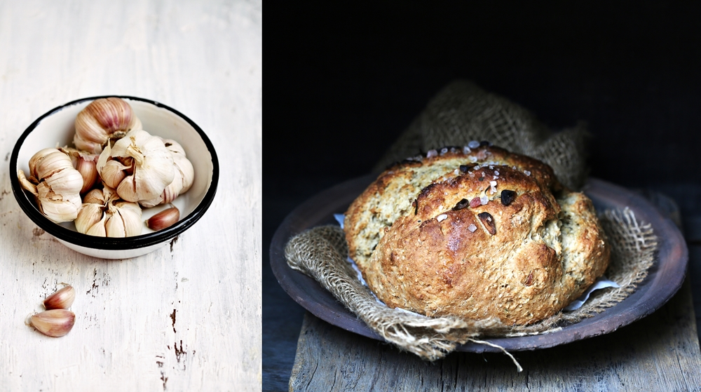 Wholewheat Garlic Oat Soda Bread