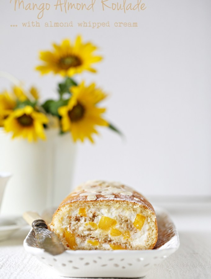 Baking | Mango Almond Roulade with almond whipped cream … making the most of the season