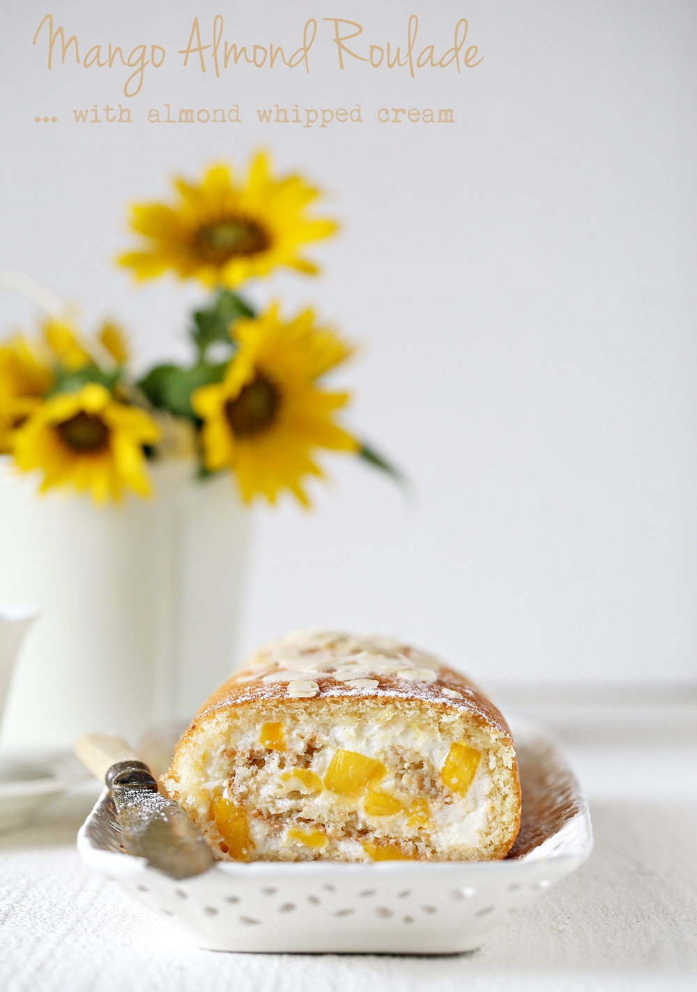 Mango Almond Roulade with almond whipped cream