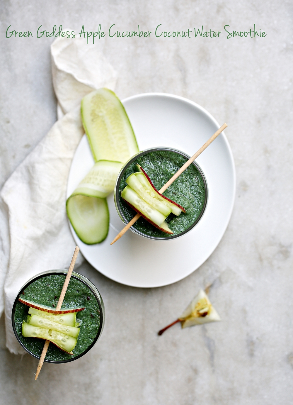 Green Goddess Apple Cucumber Coconut Water Smoothie