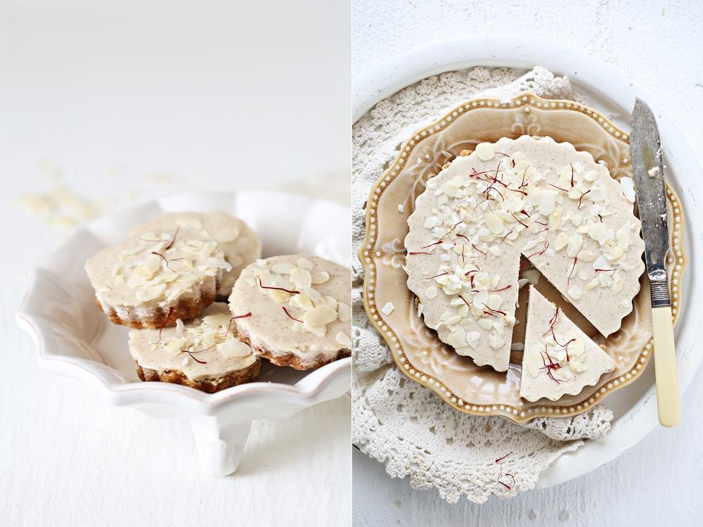 Eggless Mini Almond Oat Pies with Rabri Saffron Cream