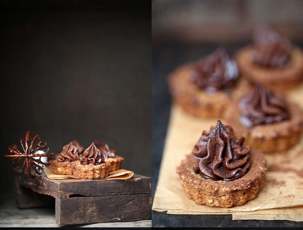 Oat & Walnut Cookie Pies with Dark Chocolate Ganache