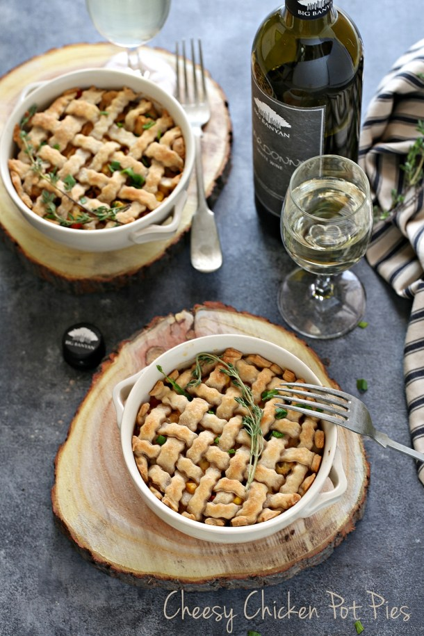 Cheesy-Chicken-Pot-Pies-1-1000 Baking | Cheesy Chicken Pot Pies ... comfort food for the holidays with #bigbanyanwines