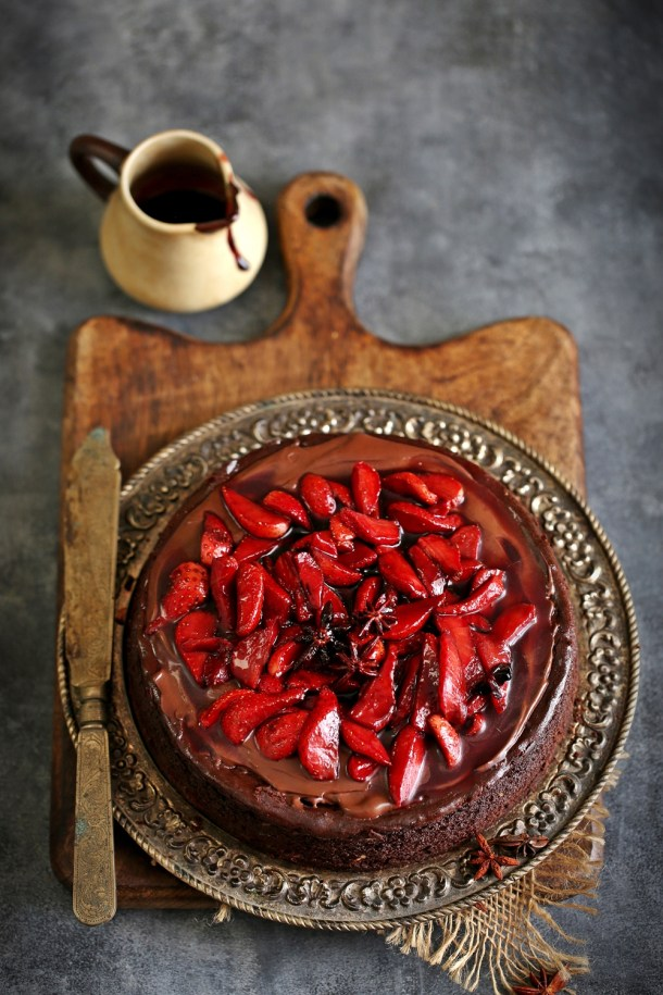 Dark-Chocolate-Cheesecake-with-Wine-Macerated-Strawberries-3-1 Baking | Dark Chocolate Cheesecake with Wine Macerated Strawberries