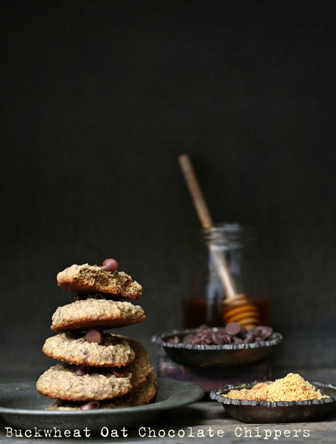 Eggless Wholegrain Buckwheat Oat Chocolate Chip Cookies #healthy #glutenfree