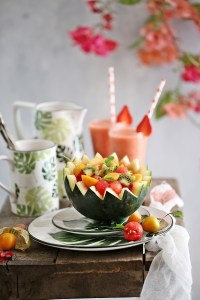 Strawberry Pineapple Smoothies, and a Watermelon Kiwi Gooseberry Fruit Bowl