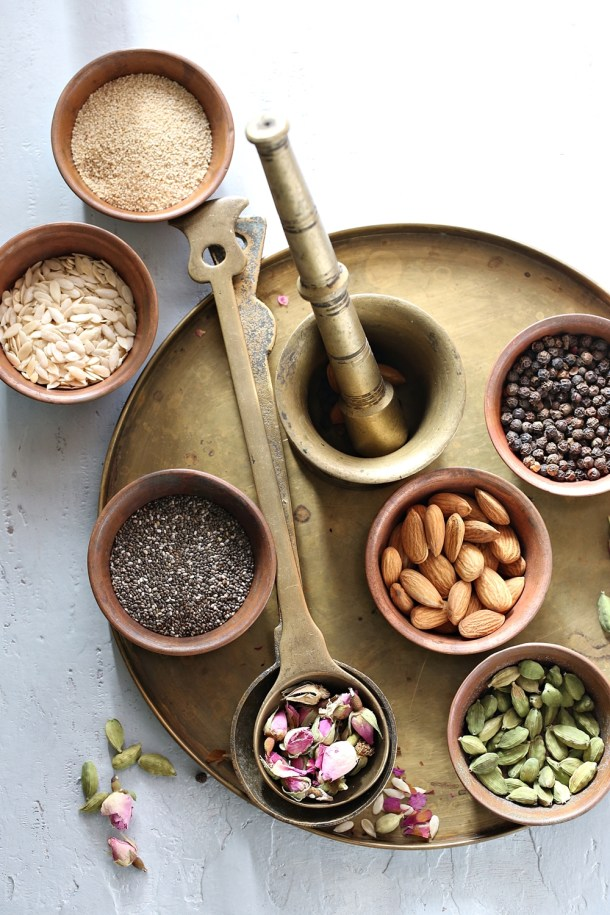 ingredients-for-thandai-1000 Food Talk | Thandai Indian Rice Kheer ... Holi time of the year