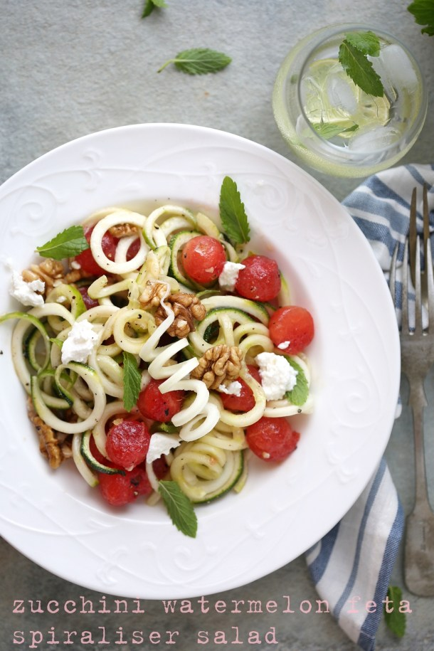 zucchini-watermelon-feta-spiraliser-salad 3 ways with Watermelon - Pizza  Cooler Salad #summer #healthy #inspiration #raw