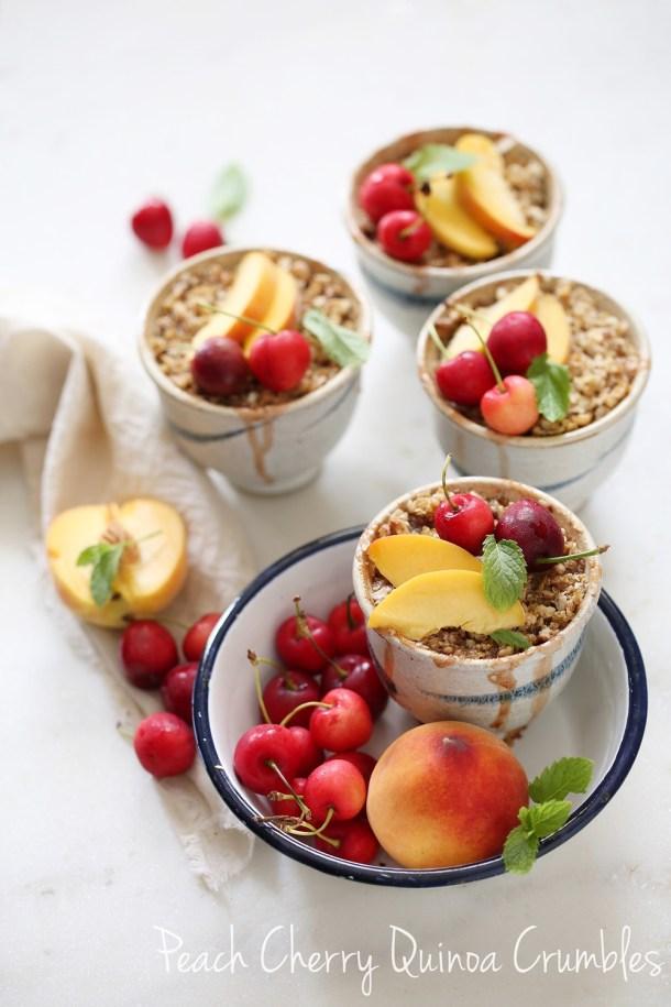 Peach-Cherry-Quinoa-Crumbles-3 GF Peach Cherry Quinoa Crumbles ... that's how my quinoa crumbled #wholefoods #baking #quinoa