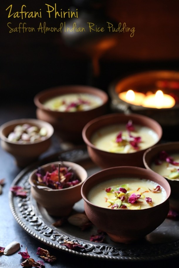 Saffron-Almond-Indian-Rice-Pudding Zafrani Phirini | Saffron Almond Indian Rice Pudding
