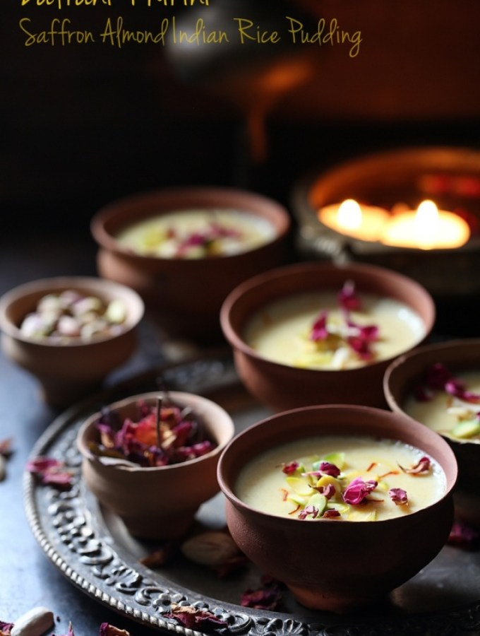 Zafrani Phirini | Saffron Almond Indian Rice Pudding