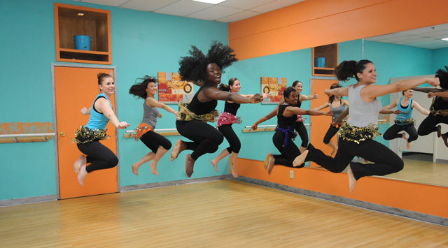Ladies doing the Karingah! scream and jump