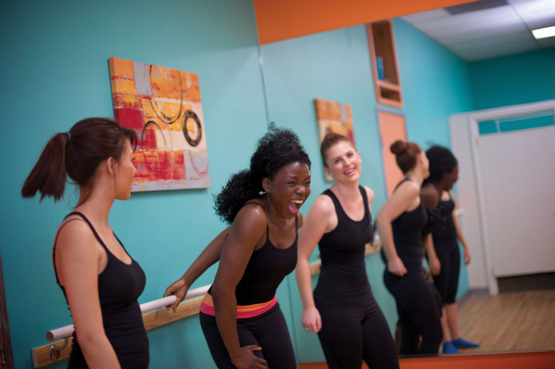 picture of barre ladies laughing and screaming after fatiguing the muscles, passion, freedom, fitness, pilates, renew mind