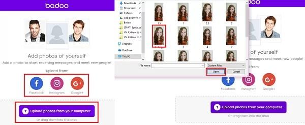 Add photos to Badoo profile