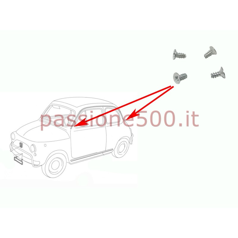 KIT 4 VITI FISSAGGIO PROFILO GOCCIOLATOIO FIAT 500