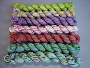 The seven bunch of flowers mini skein colours hozitonal view