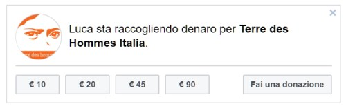 donazione facebook terre des hommes italia