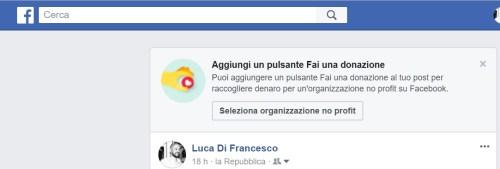 facebook-Aggiungi un pulsante Fai una donazione
