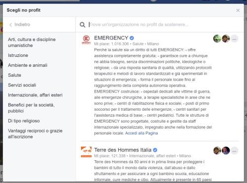 segli non profit - facebook donazioni