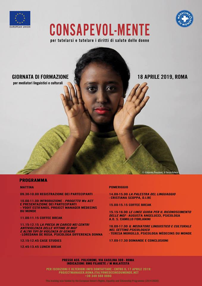 CONSAPEVOL-MENTE per tutelarsi e tutelare i diritti di salute delle donne  - giornata di formazione per mediatori linguistici e culturali
