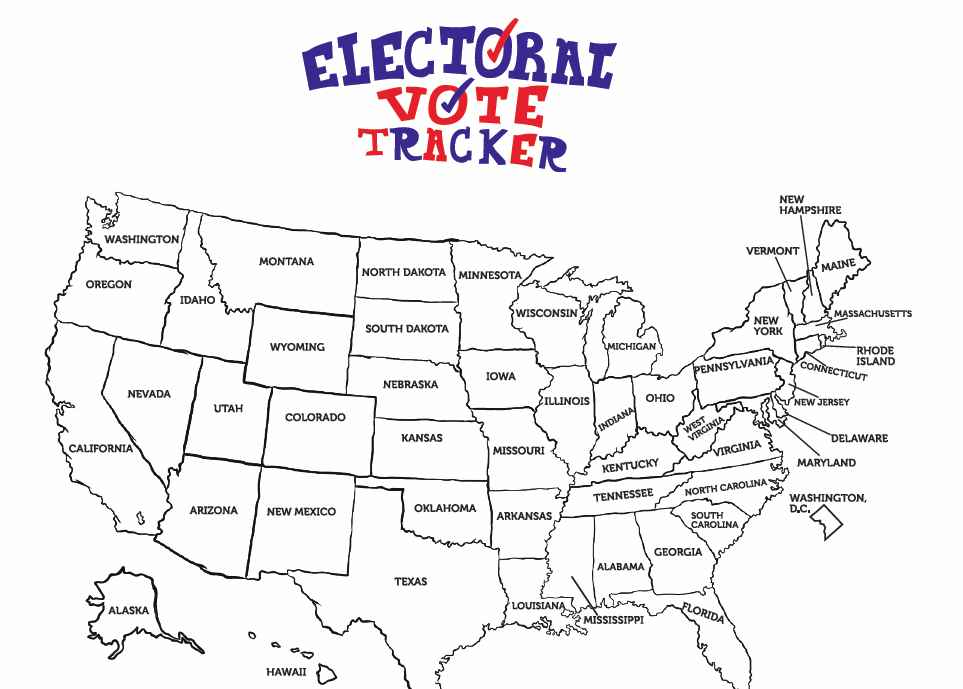 FREE Electoral College Map Coloring Sheet for Kids