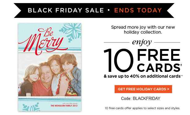 Shutterfly Black Friday Coupon Codes 10 FREE Cards