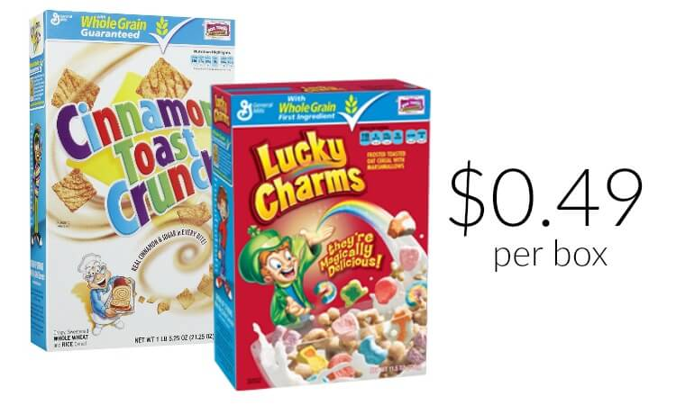 General Mills Cereal Coupons  Lucky Charms  Cinnamon
