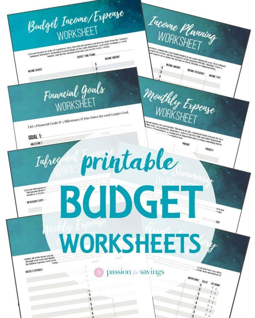 printable budgeting worksheets