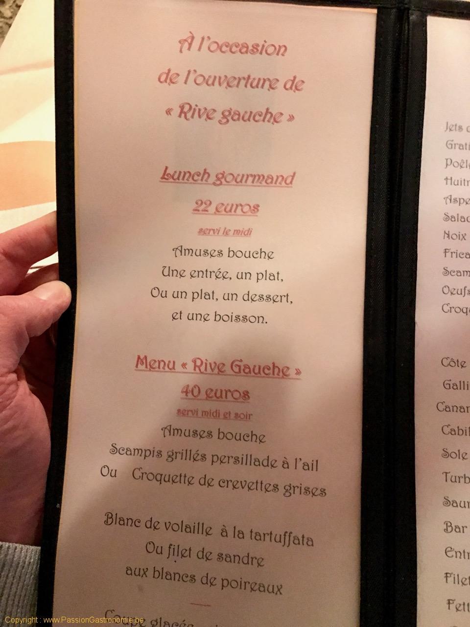 Restaurant Au Provencal - Menu Rive Gauche et lunch
