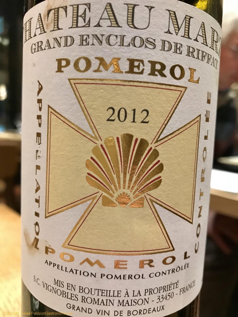 Restaurant Ferme des 4 saisons - Pomerol 2012