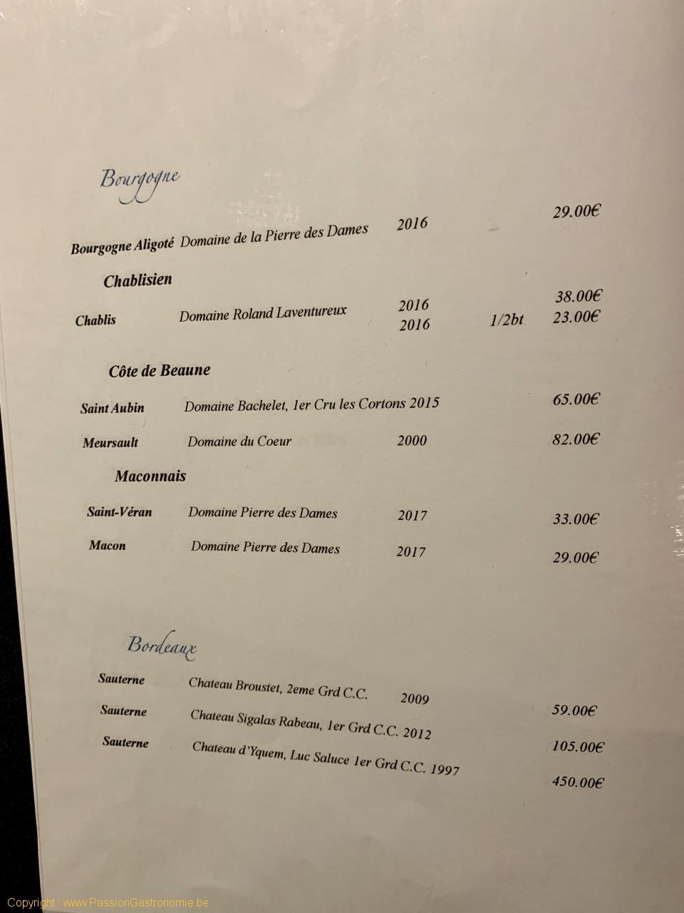 Restaurant chinois Dynasty - Quelques vins blancs de la carte