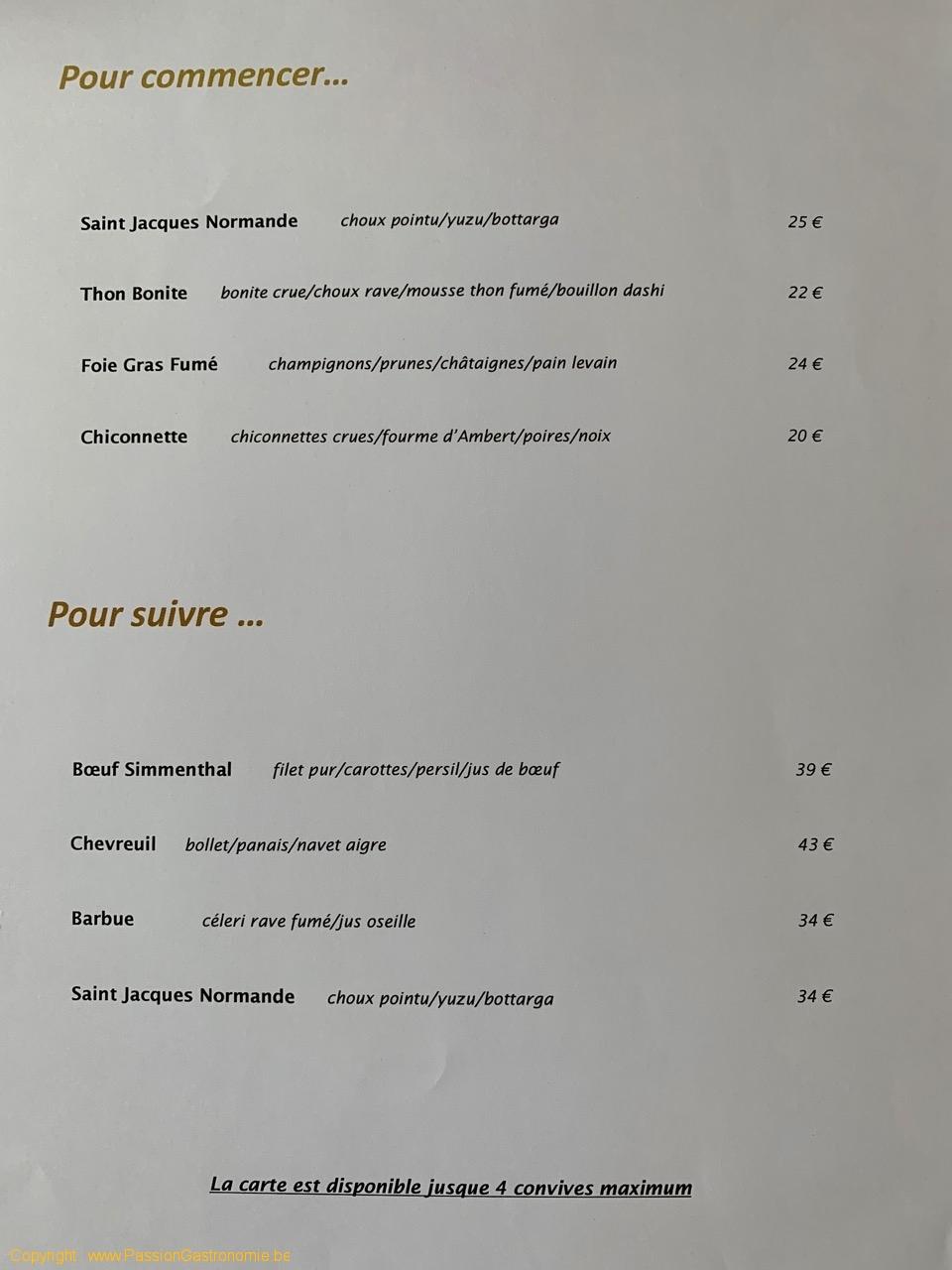 Restaurant La Canne en Ville - La carte