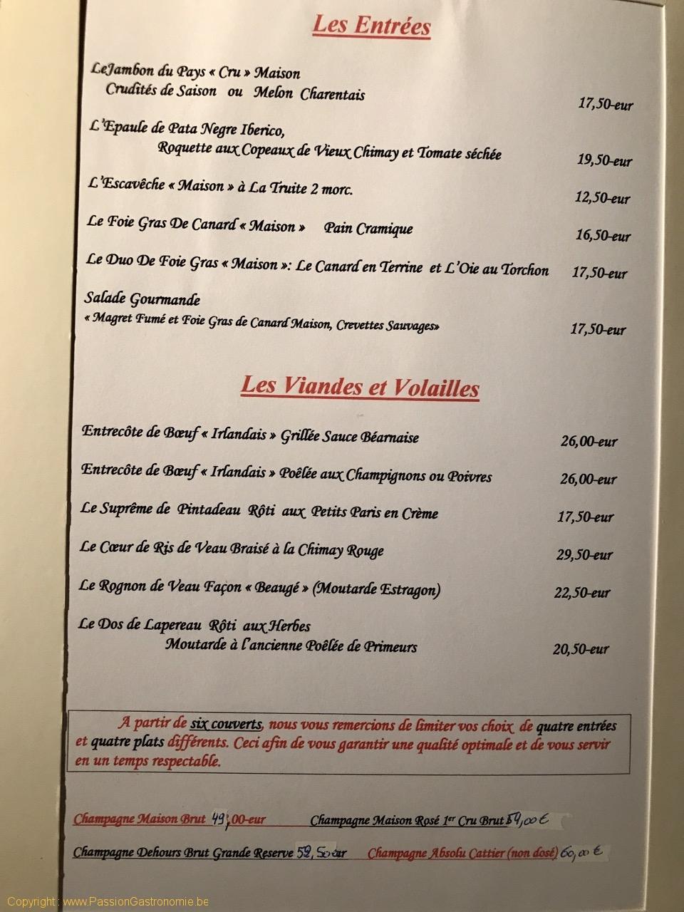 Restaurant La Malterie - La carte des entrées, viandes et volailles
