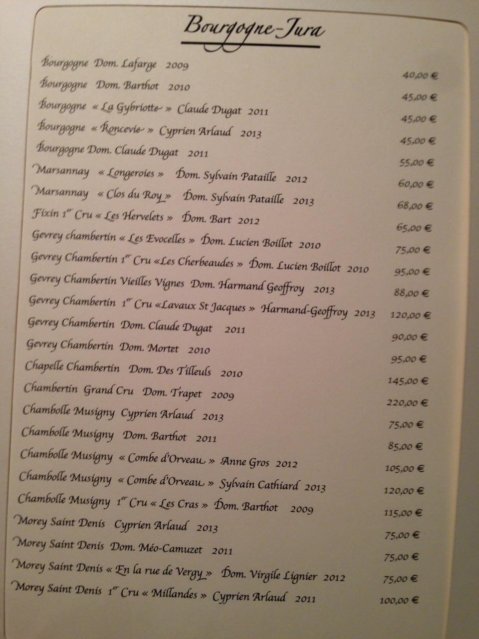 Restaurant Les Trois Petits Bouchons - Carte des vins